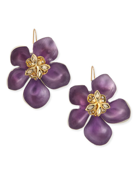 Prairie Crocus Floral Lucite Earrings, Purple