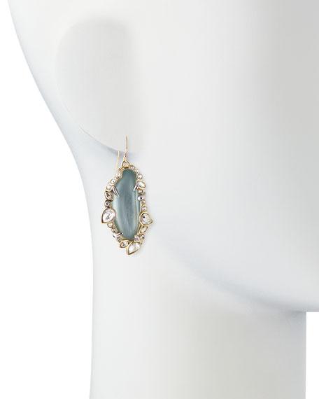 Jagged-Edge Crystal-Framed Lucite Earrings, Gray/Blue