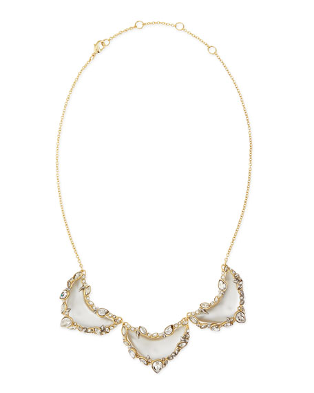 Jagged-Edge Crystal-Framed Lucite Small Bib Necklace, Gray/Blue