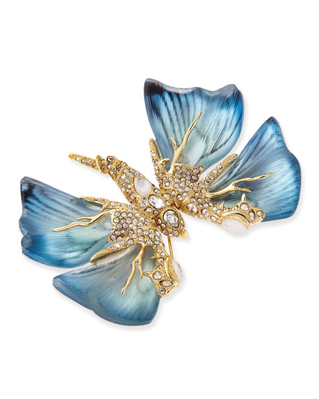 Pave Crystal Butterfly Brooch, Azure