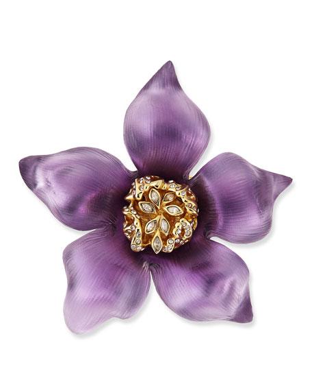 Prairie Crocus Floral Lucite Brooch, Purple