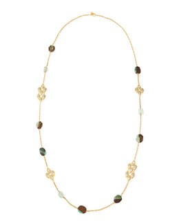Alexis Bittar Green & Crystal-Studded Scallop-Station Necklace, 42""