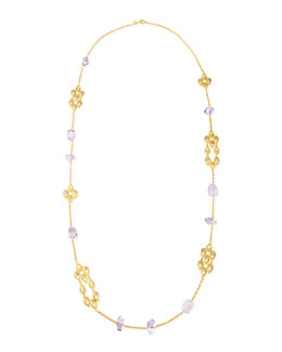 Alexis Bittar Pink Amethyst & Crystal-Studded Scallop-Station Necklace, 42""