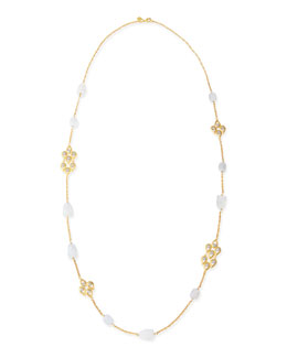 Alexis Bittar Blue Chalcedony & Crystal-Studded Scallop-Station Necklace, 42""