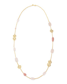 Alexis Bittar Pink Stone & Crystal-Studded Scallop-Station Necklace, 42""