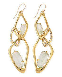 Alexis Bittar Infinity Link Earrings with Aqua Green Crackle Glass