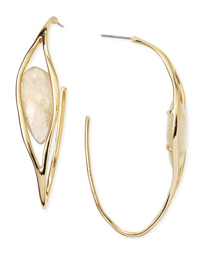 Alexis Bittar Golden Rutilated Quartz Hoop Earrings