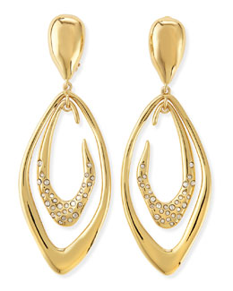 Alexis Bittar Pave Crystal Dangling Double Orbit Clip-On Earrings