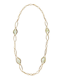 Alexis Bittar Golden Link Necklace with Aqua Green Crackle Glass, 42""