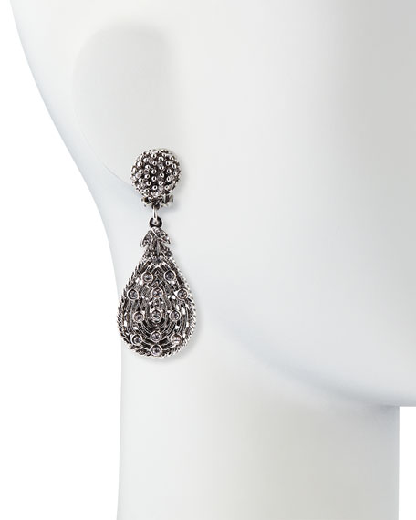Silvertone Crystal Teardrop Clip-On Earrings