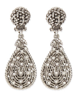 Jose & Maria Barrera Silvertone Crystal Teardrop Clip-On Earrings