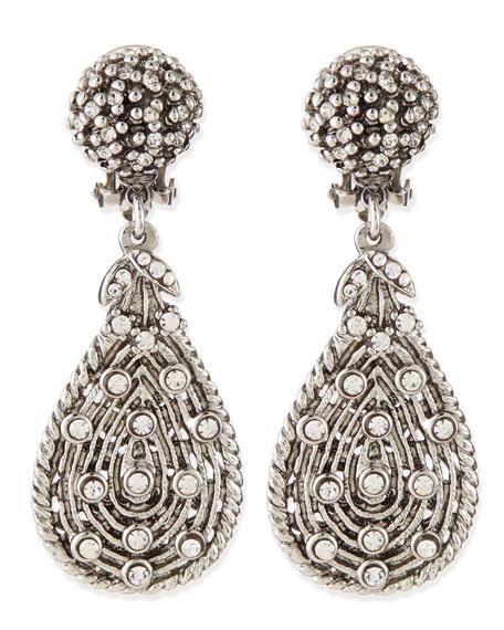 Silvertone Crystal Teardrop Clip-On Earrings
