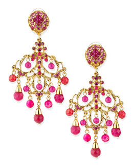 Jose & Maria Barrera Pink Chandelier Drop Earrings