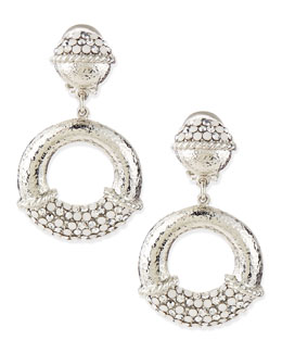 Jose & Maria Barrera Silver-Dotted Hoop Earrings