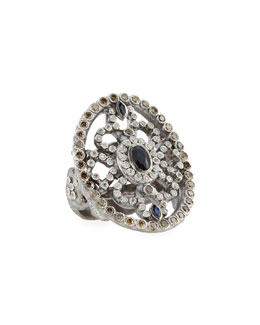 Armenta Large Oval Silver Shield Ring with Sapphire & Diamonds