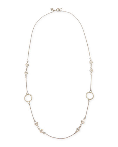 Armenta Circle Scroll Champagne Diamond Link Necklace