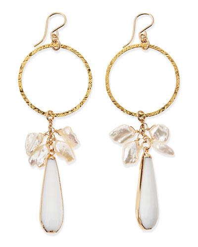 Devon Leigh Hoop Earrings with Pearls & White Jade