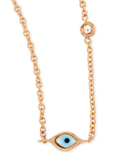 Sydney Evan 14k Rose Gold Evil Eye Necklace with Single Diamond