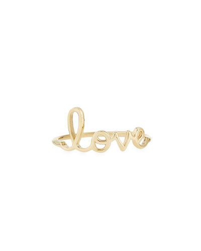 Sydney Evan 14k Yellow Gold Pure Love Script Ring, Size 6.5