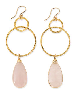 Devon Leigh Rose Quartz Hoop Drop Earrings
