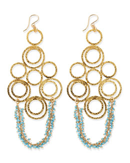Devon Leigh Hammered Link Earrings with Turquoise Beads