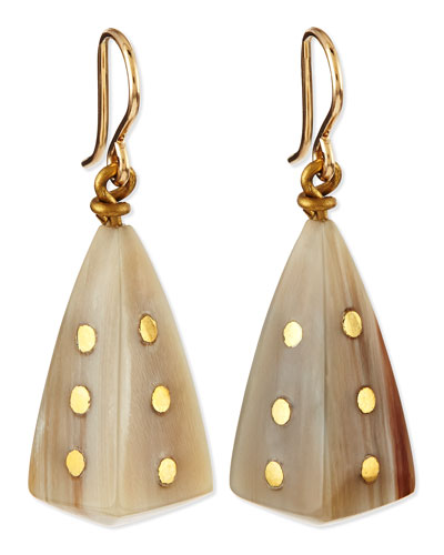 Ashley Pittman Doa Light Horn Pyramid Dot Earrings