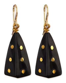 Ashley Pittman Doa Dark Horn Pyramid Dot Earrings