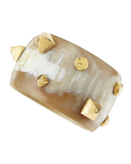 Ashley Pittman Kibanzi Light Horn Bangle with Hammered Pyramid & Round Studs