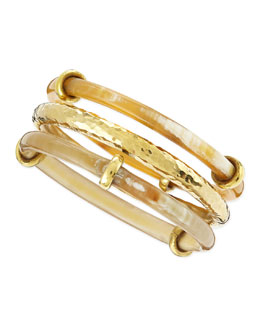 Ashley Pittman Karibu Light Horn & Bronze Bangles, Set of 3