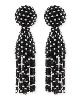 Oscar de la Renta Short Dotted Beaded Tassel Clip-On Earrings, Black/White