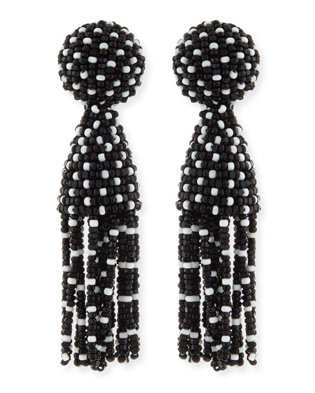 Short Dotted Beaded Tassel Clip-On Earrings, Black/White