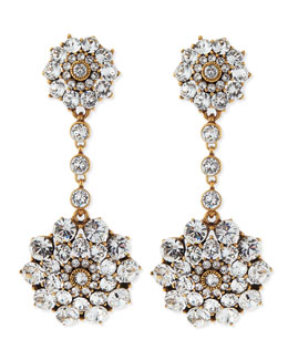 Oscar de la Renta Clear Crystal Drop Clip-On Earrings