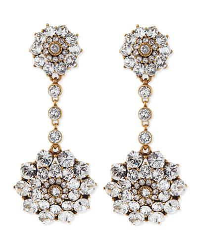 Oscar de la Renta Clear Crystal Drop Clip-On Earrings