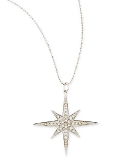 Sydney Evan 14k White Gold Diamond Starburst Necklace