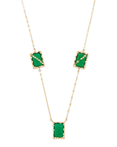 Spellbound 14k Gold Green Onyx 3-Station Necklace