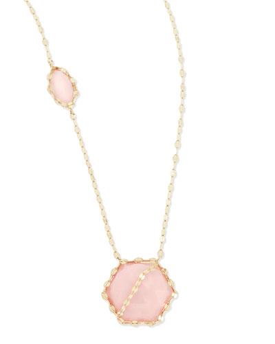 LANA 14k Pink Opal Station Necklace