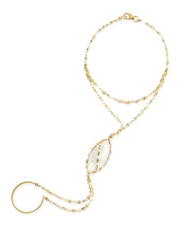 Lana 14-Karat Yellow Gold Dream Hand Chain with Moonstone
