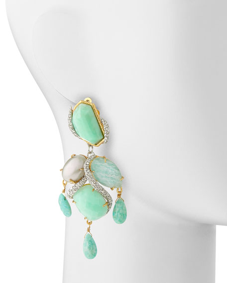 Maldivian Amazonite Multi-Stone Clip-On Earrings