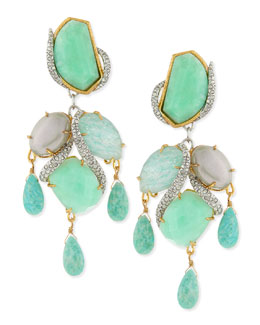 Alexis Bittar Maldivian Amazonite Multi-Stone Clip-On Earrings