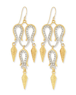 Alexis Bittar Maldivian Aigrette Crystal Chandelier Earrings