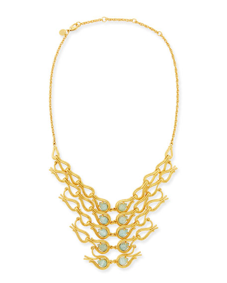 Maldivian Aigrette Amazonite Bib Necklace