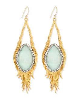 Alexis Bittar Maldivian Aqua Crystal Feather Earrings