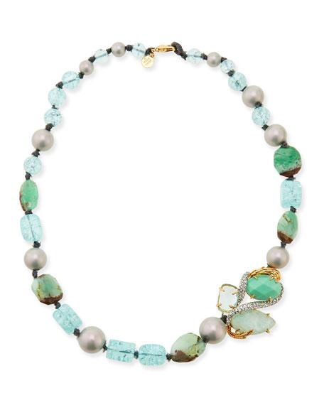 "Maldivian Green Beaded Single-Strand Necklace, 19"""
