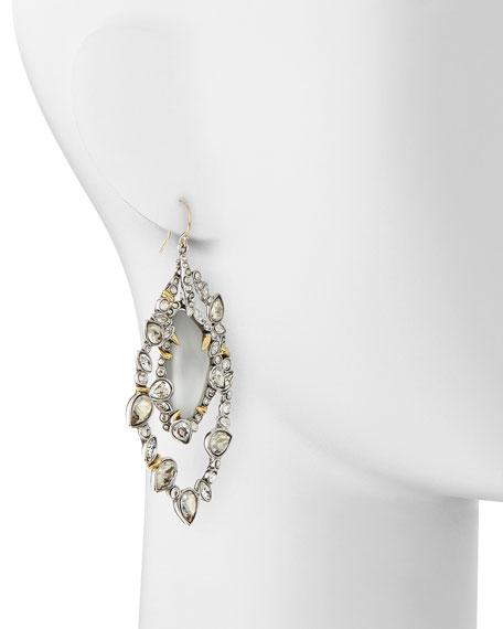 Jardin de Mystere Jagged Crystal Orbit Earrings with Silver Lucite
