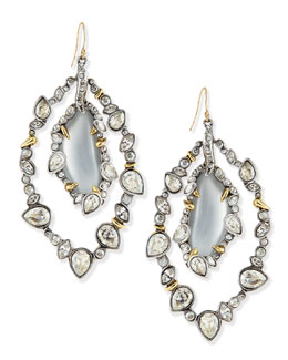 Alexis Bittar Jardin de Mystere Jagged Crystal Orbit Earrings with Silver Lucite