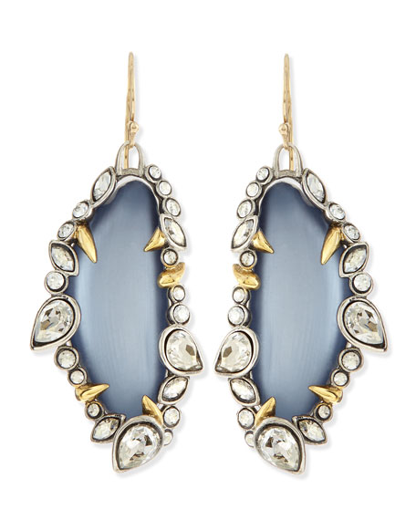 Jardin de Mystere Jagged Crystal Dangle Earrings, Steel Blue
