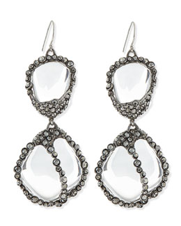 Alexis Bittar Jardin de Mystere Clear Crystal Pebble Dangle Earrings
