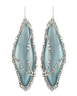 Alexis Bittar Crystal-Caged Lucite Dragonfly Wing Earrings, Gray/Blue