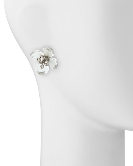 Clear Lucite Gardenia Earrings