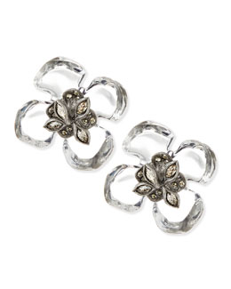 Alexis Bittar Clear Lucite Gardenia Earrings